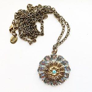 Long boho brassy gold & blue gem pendant necklace